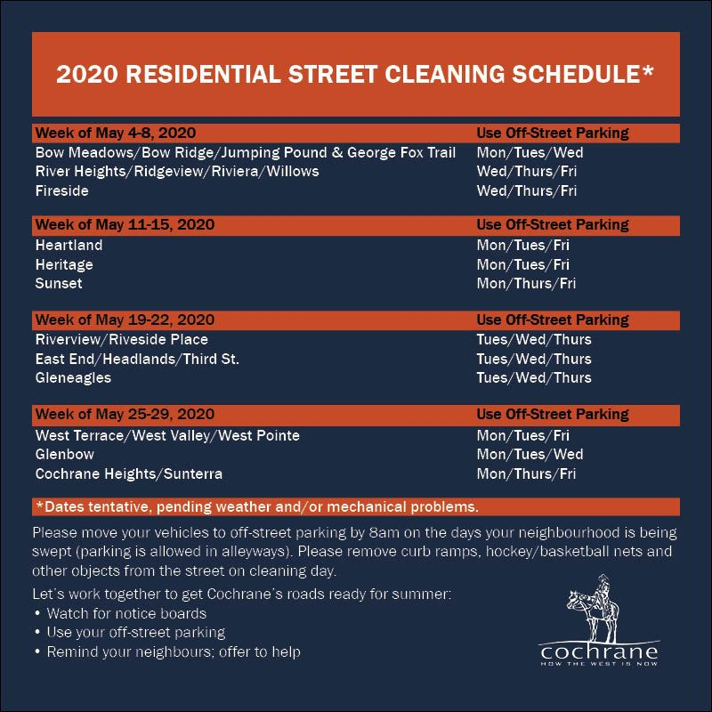 Street Sweeping  2020 Schedule - FB Post
